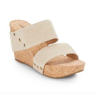 Lucky Brand Cork Wedge Heels 10